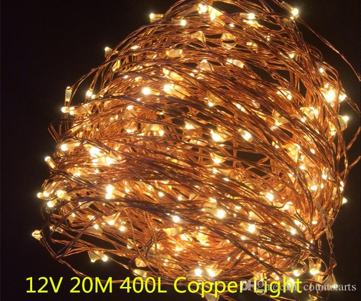 copper led lights 12v outdoor christmas string fairy lighting 20m 400 led single string warmwhite