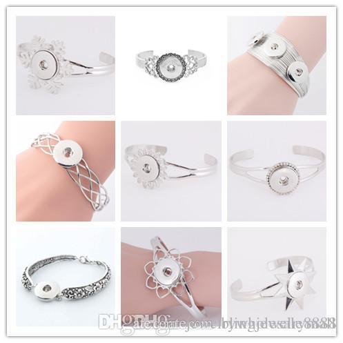 Nuovo bracciale in argento placcato oro per le donne in forma fai-da-te 18 millimetri gioielli snap bottoni automatici gioielli braccialetto
