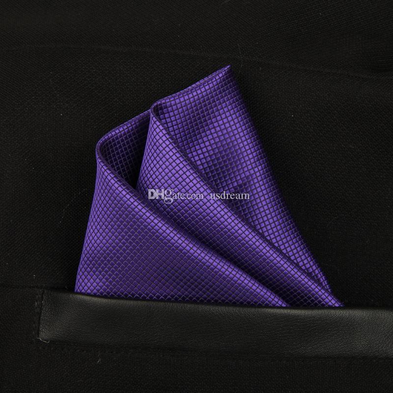 Сплошной блестящий полный квадратный платок платок имитации шелкового джентльмена Hanky Cravat для модных аксессуаров для свадьбы