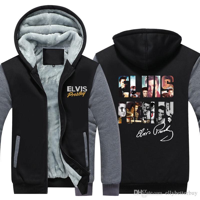 Elvis Presley Mode hoodies Hommes Hiver Casual Super chaud épaissir polaire pull Sweat Zipper Veste Manteau USA taille EU Plus taille