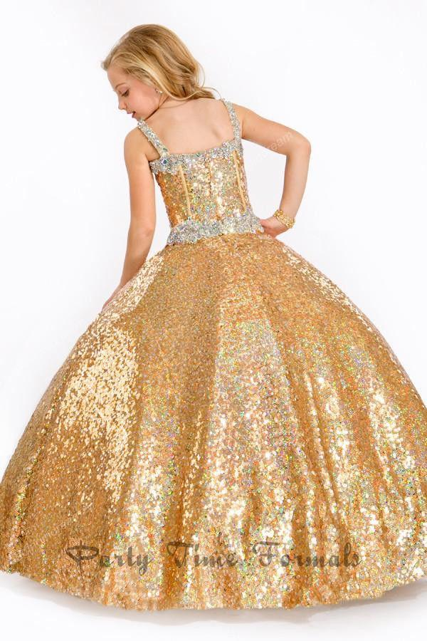 d6ae15846cc2 ... 2017 Pageant Dresses For Girls Ball Gown Gold Crystals Bling Bling Kids  Flower Girl Dresses Floor