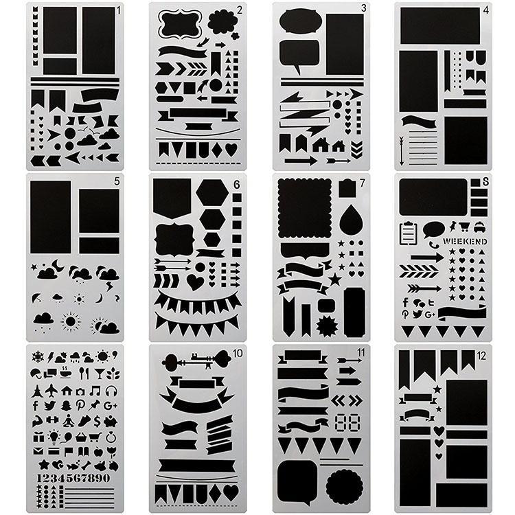 12 أجزاء رصاصة مجلة استنسل البلاستيك مخطط الإستنسل دفتر / يوميات / القصاصات / بطاقة المعايدة diy رسم قالب الاستنسل 4x7 بوصة