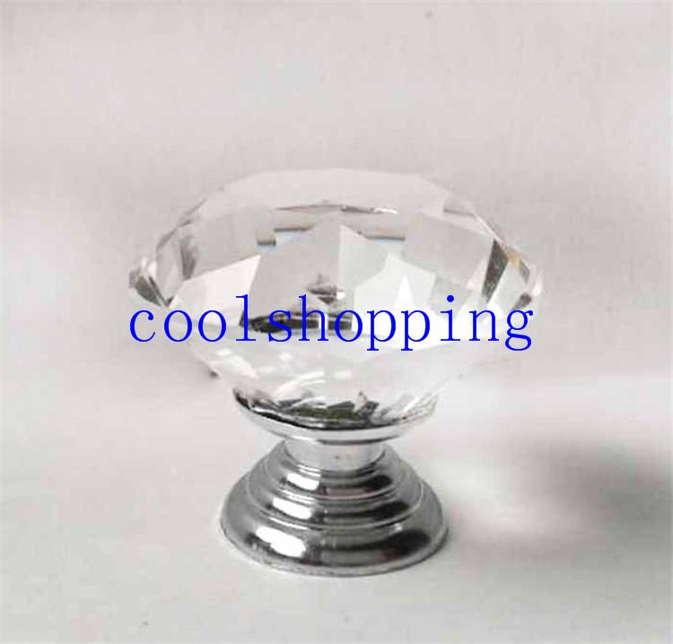 40mm Clear Diamond Shape Crystal Glass Pull Handle Cupboard Cabinet Drawer Door Furniture Knob