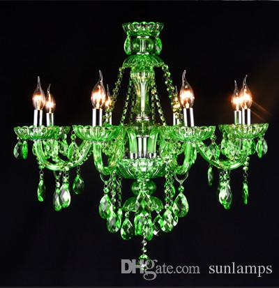 Children room Kid's green chandelier crystal lamp & pendant lights Cafe Bar Restaurant led Candle Chandelier crystal Lighting Kroonluchter