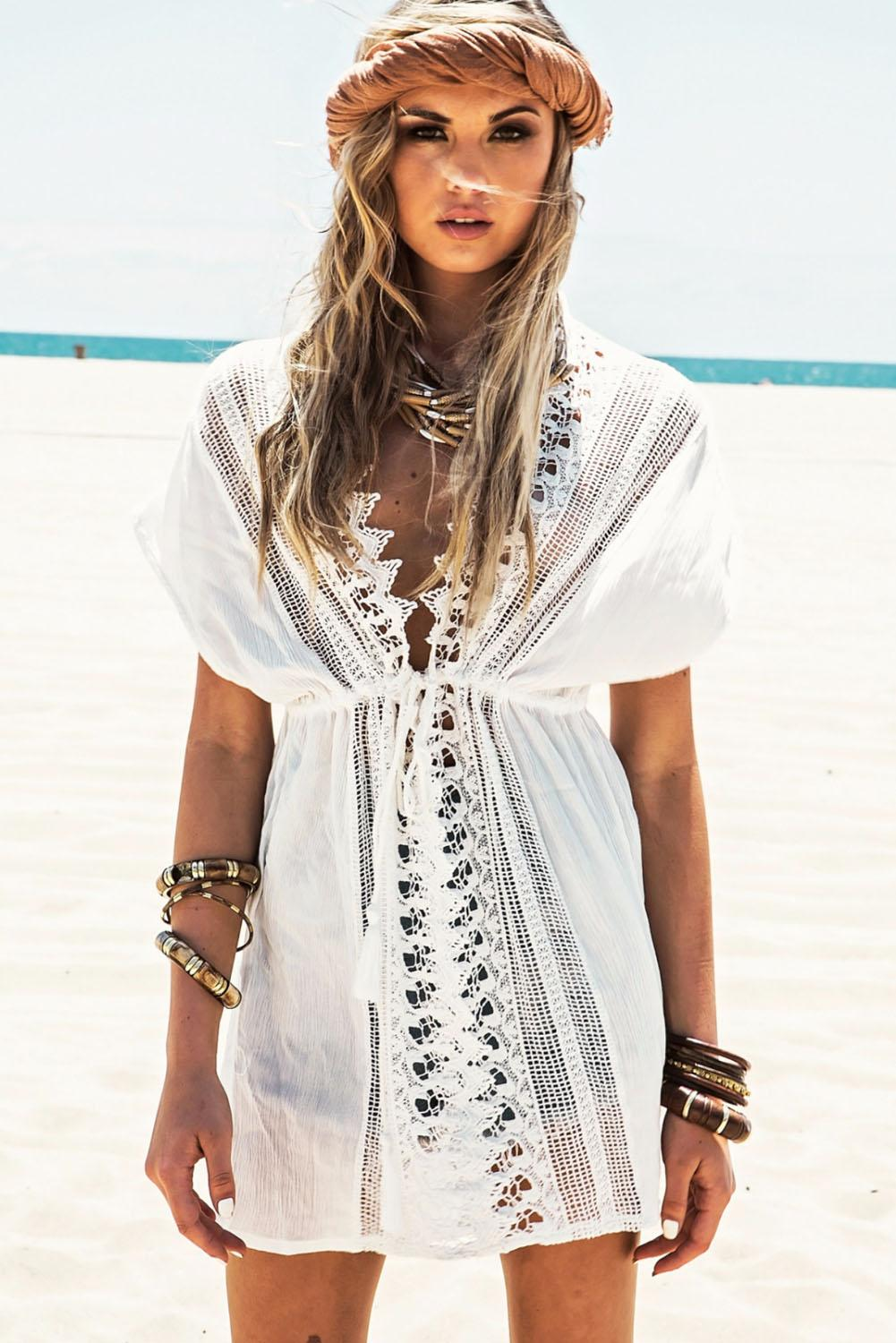 Summer White Short Sleeve V Neck Cotton Beach Caftans Lace Crochet Tunic Beach Cover Ups Sexy Kaftan Bikini Swimsuit Cover Up Dress 41510
