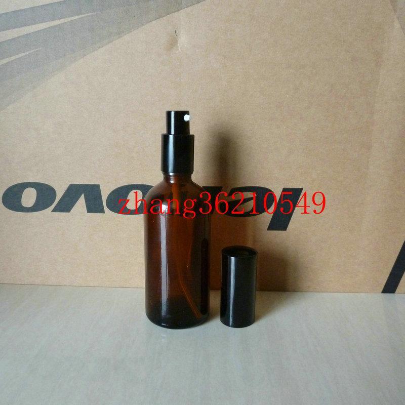 100ml 갈색 / 호박색 유리 로션 병 알루미늄 반짝 이는 검은 pump.for 로션과 에센셜 오일. 로션 크림 유리 용기
