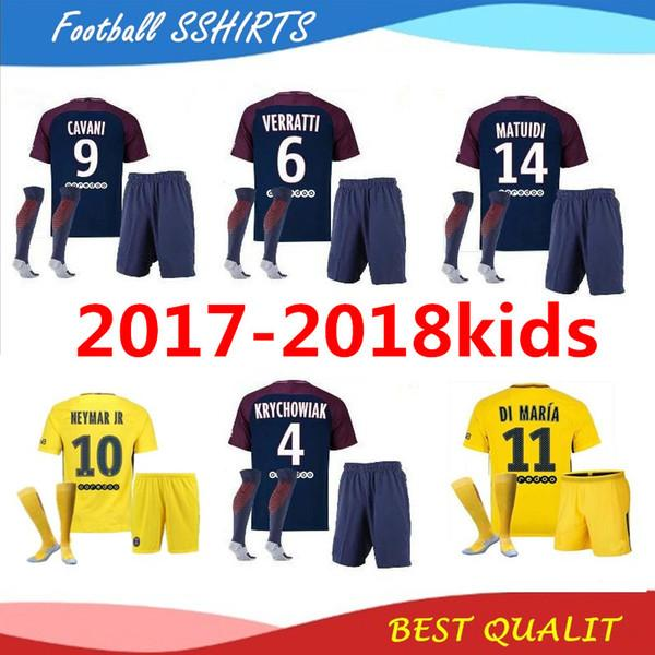 low priced e9713 1d370 2017 New 2017 18 Neymar Jr Soccer Jersey Kids Blue Yellow Jersey +Socks Di  Maria Mbappe Silva Ben Arfa Cavani Dani Alves Football Jerseys From ...