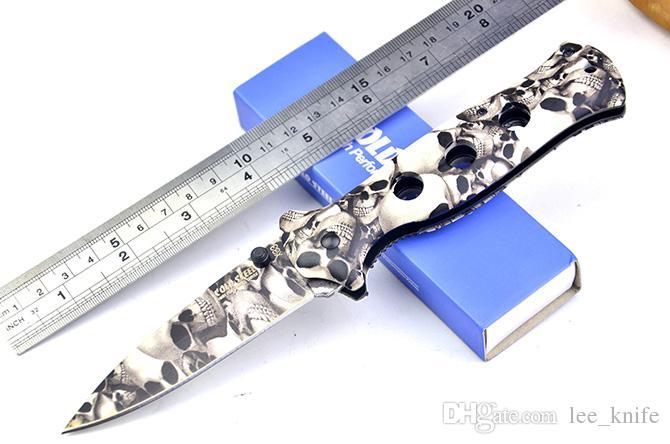 Il cranio d'acciaio freddo di alta qualità coperto X-33 che piega la lama coltiva il coltello di caccia del coltello da tasca del coltello del regalo il trasporto libero 1pcs