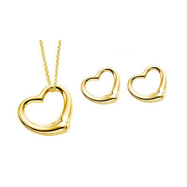 Super Star Same Heart Necklace Earrings Sets For Women Best Gift 925 silver african costume jewelry sets 8167