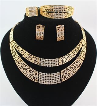 African Jewelry Sets Wedding 18K Gold Crystal Bridal Double Chain Necklace Bracelet Ring Earring Party Set 10Set/lot