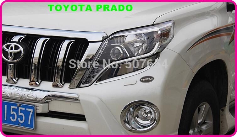 Yüksek kaliteli ABS Krom TOYOTA Land Cruiser Prado için 2 adet araba far dekorasyon trim 2014-2017