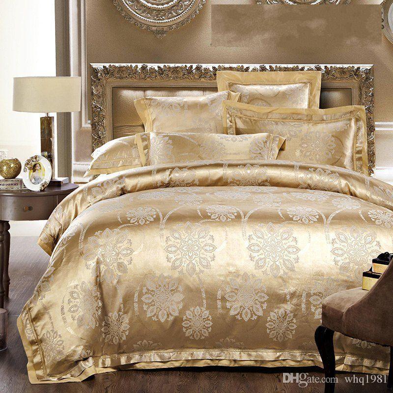 Luxury Jacquard Silk/Cotton Bedding Set Queen King Size 4/White/Gold/Blue  Satin Quilt/Duvet Cover Bed Linen Bedclothes Set HOME TEXTILE Queen Bedding  ...