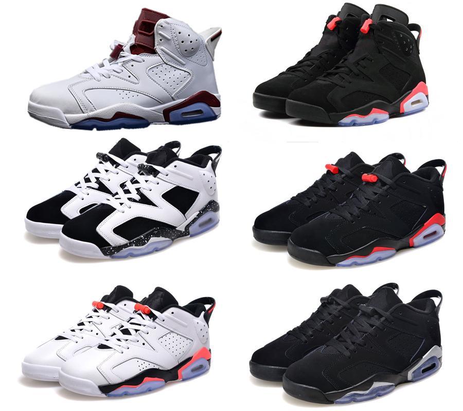 الكلاسيكية 6 6 ثانية unc الأسود الأحمر لكرة السلة أحذية رياضية الرجال النساء ارتفاع منخفض الجولف الأبيض حجم 5.5-13 جودة عالية النسخة