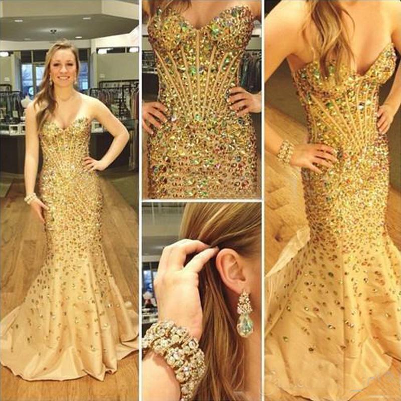 Abiti da ballo di lusso sirena cristalli colorati perline corsetto lungo abiti da spettacolo formale serata su misura di alta qualità con sweep treno