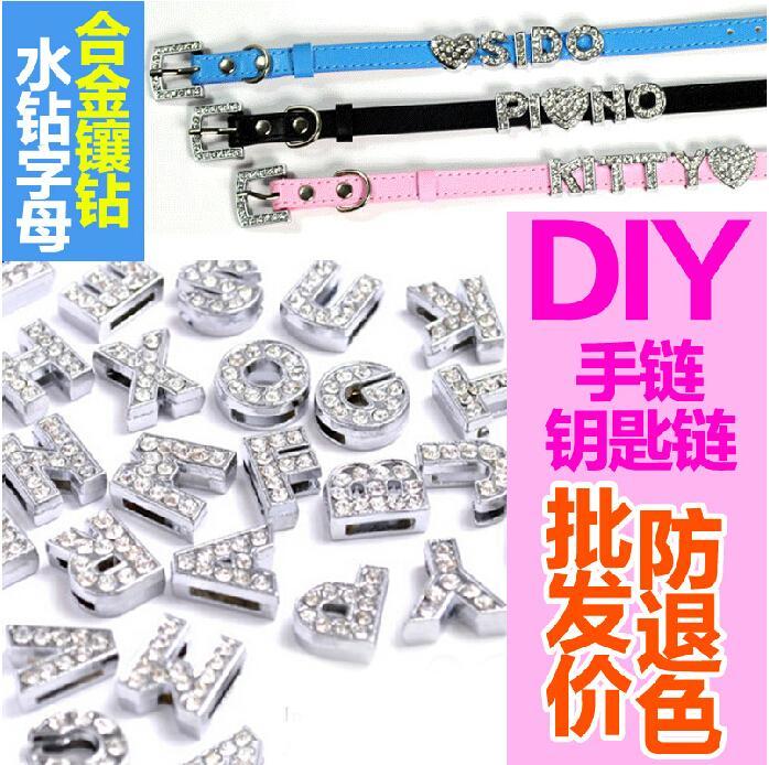 Hållängd 8mm 130pcs / lot charms DIY Slide Letters med Rhinestone Pet Dog Collar Silver Färg Smycken Hitta komponenter Charms