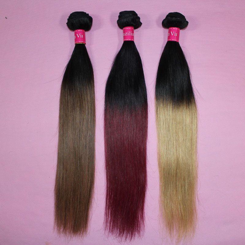 Brasilianska rakt hårväv Ombre Mänskligt hår väft Två tonfärg 100 peruanska hårbuntar 1b / 27 1b / 30 1b / 99j 1b / röd