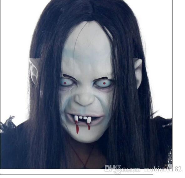Фильм ужасов! Хэллоуин маска длинные волосы призрак страшная маска реквизит злоба призрак хеджирование маска зомби