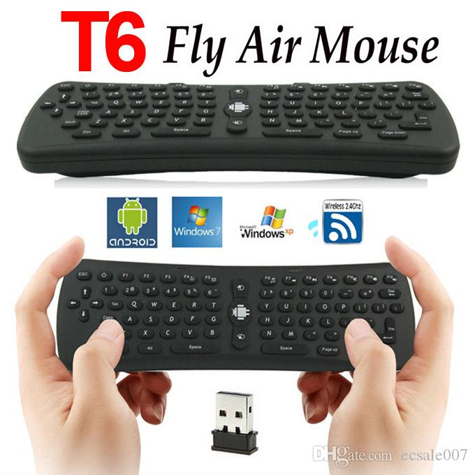 2.4G Mini Fly Air Mouse T6 2.4GHz RF Clavier sans fil Qwerty Mouse Combo à distance pour PC Android TV Box MXQ MX MXIII M8 MK802 CX-919 bâton de télévision
