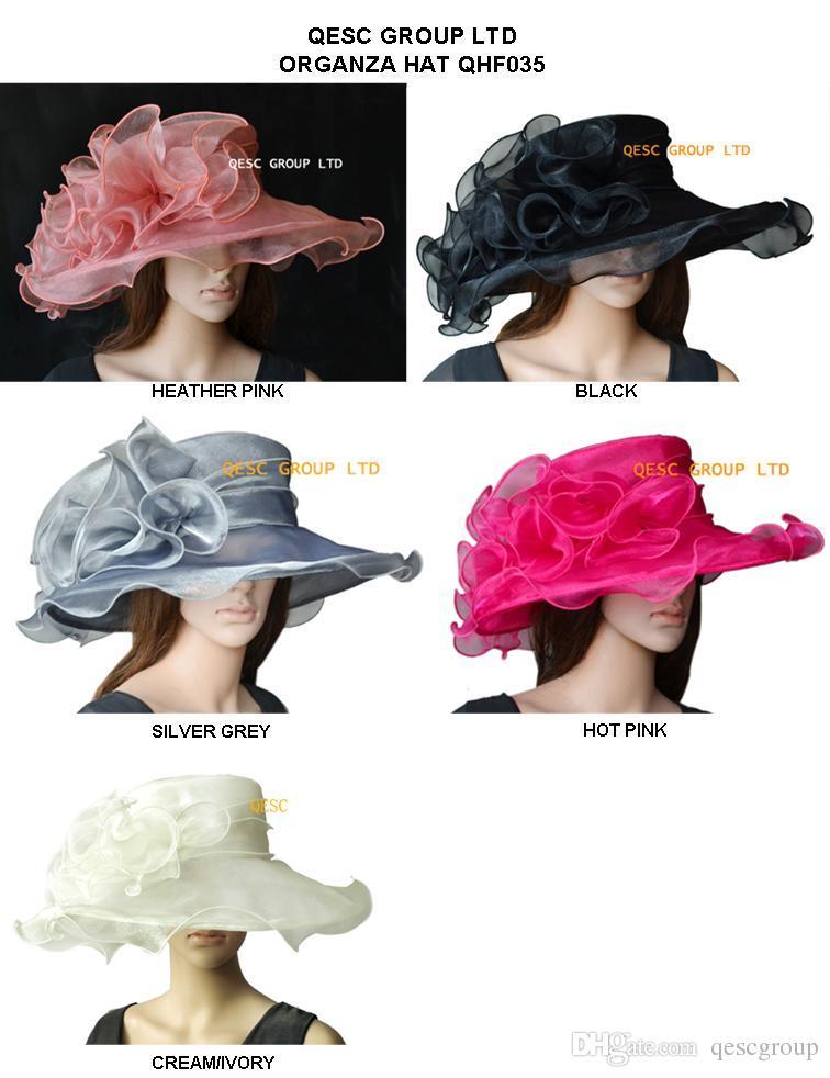 NOVO ARRIVAL.Crystal Hat Organza com guarnição Organza Grande para Kentucy Derby.4 colors.brim largura 13,5 centímetros, marfim, preto, prata.