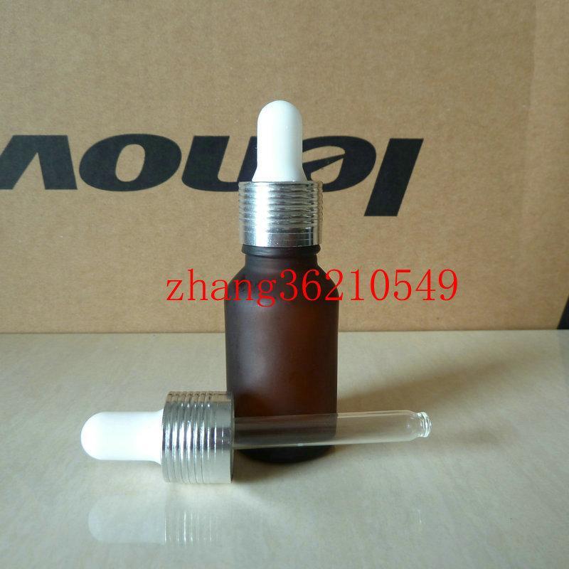 갈색 / 호박색 젖빛 유리 에센셜 오일 병 15ml 알루미늄 광택이있는 실버 스포이드 캡. 오일 바이알, 에센셜 오일 용기