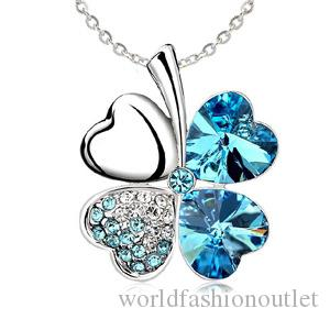 Fashion 925 sterling Necklaces Four Leaf Clover Pendant Necklace Lovers Gift Crystal Rhinestone Pendant Necklac Four Leaf Clover Necklaces