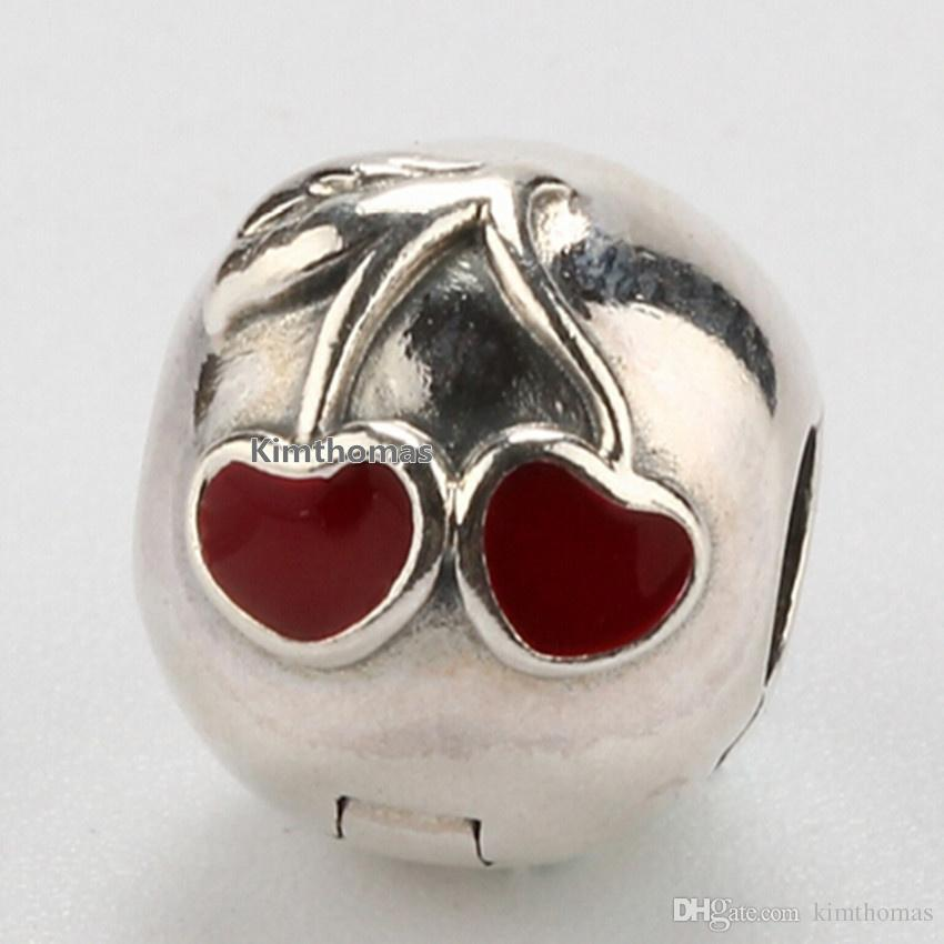 100% 925 Sterling Silver Cherries Clip Charm Bead with Red Enamel Fits European Pandora Jewelry Bracelets Necklaces & Pendants