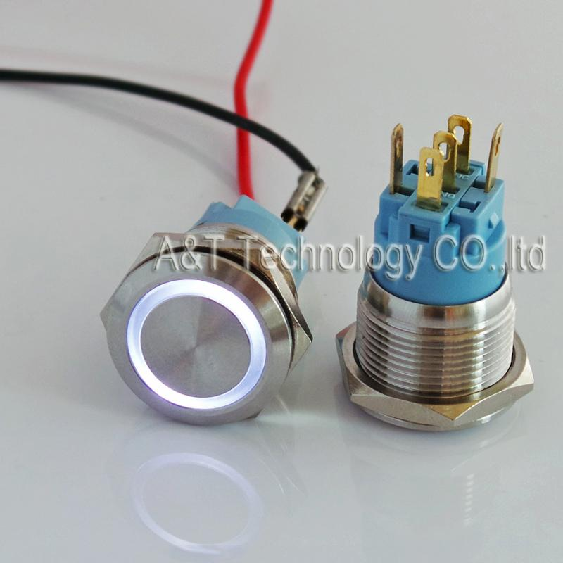 Short body 36mm length ,19mm Metal Anti Vandal Waterproof Latching ON/OFF Push Button ,12V Blue white ring illuminated Vandal Proof Switch