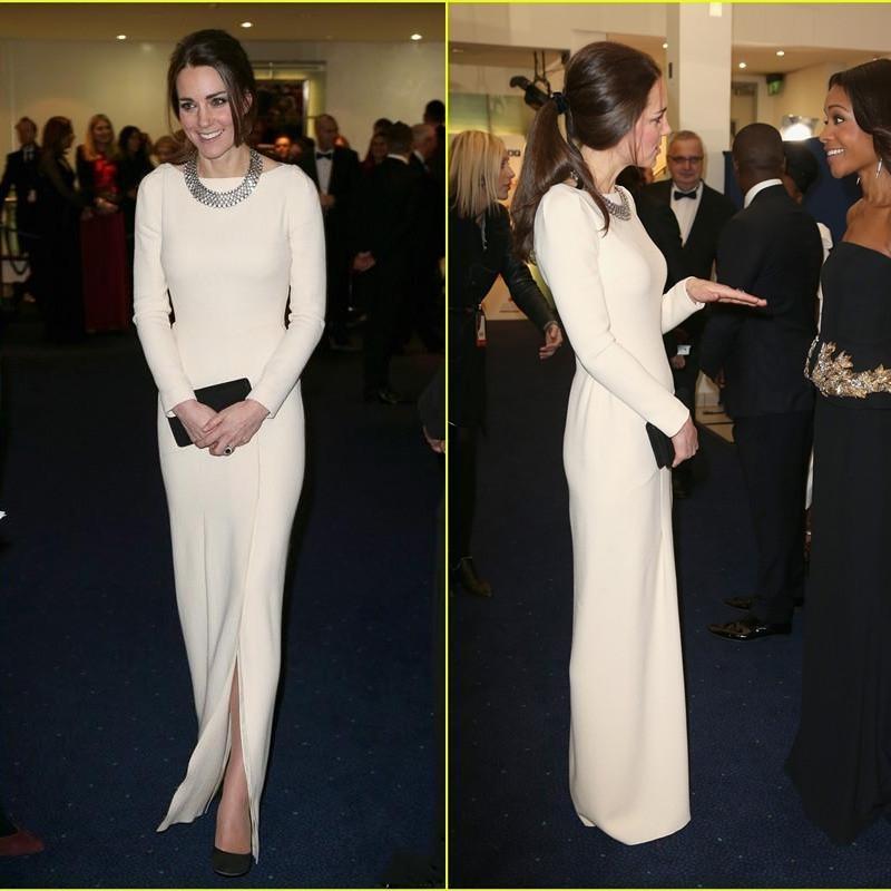 Kate Middleton Original Celebrity Dresses Red Carpet Dresses Crew Sheath White Satin Floor Length Evening Dresses Long Sleeve Front Slit
