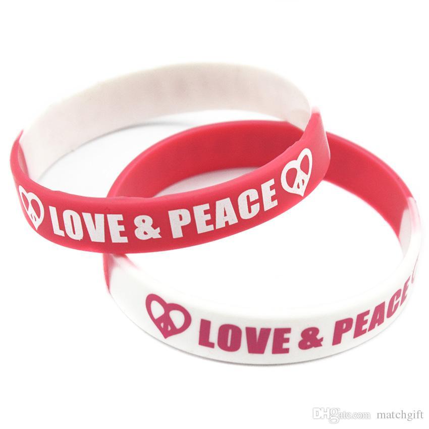 100pcs 사랑과 평화 실리콘 고무 팔찌 힙합 홉 스타일 세그먼트 컬러 간단한 장식 인쇄 로고