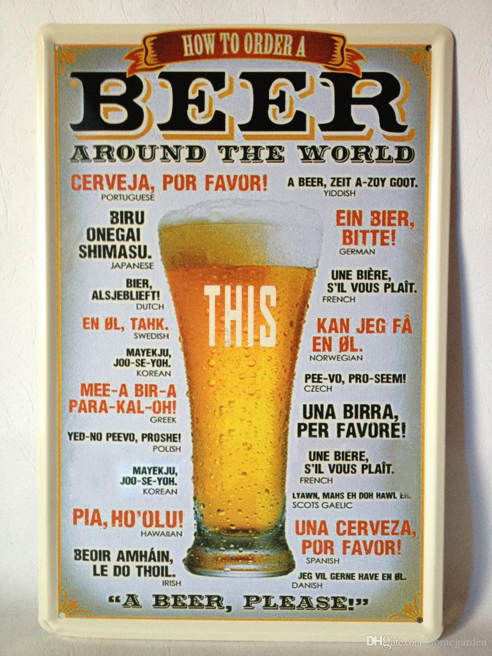 Birra in tutto il mondo Targa in metallo Bar pub home Decorazione murale Poster in metallo retrò
