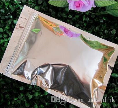 Livraison gratuite 16 * 24cm pochette en aluminium à glissière plate feuille supérieure sac zip sac de potpourri en aluminium plat fermeture éclair alimentaire emballage avec sac de poudre