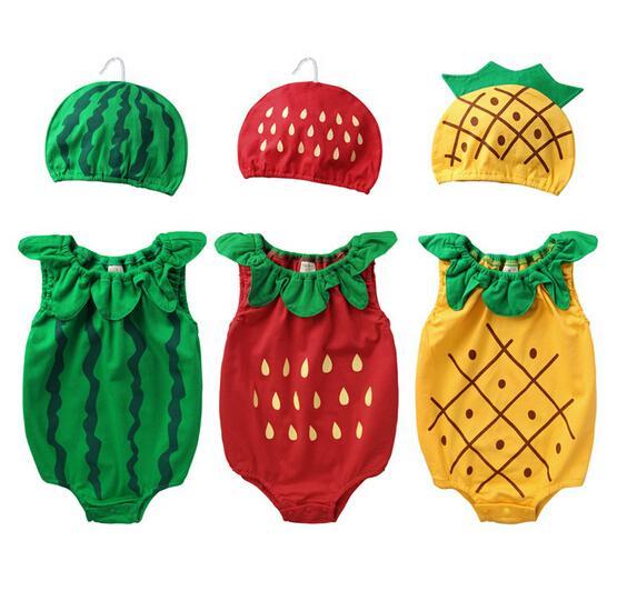 2019 الصيف الطفل قطعة واحدة رومبير لطيف الفاكهة النمذجة القطن الخالص طفل زي مع قبعة الوليد ملابس الطفل 70-80-90 9 مجموعة / وحدة ab872