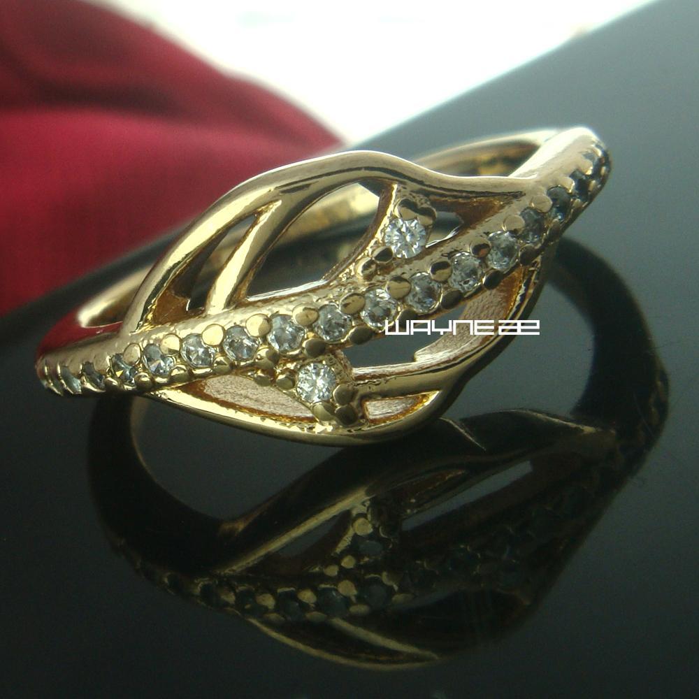 Tamanho 7, 8 Atraente mulher Jóias branco safira 18 K anel de ouro GF r235