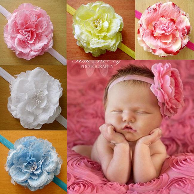 Baby Girl Headband// Hairband with rose flower Bow for Newborn//Baby//Toddler