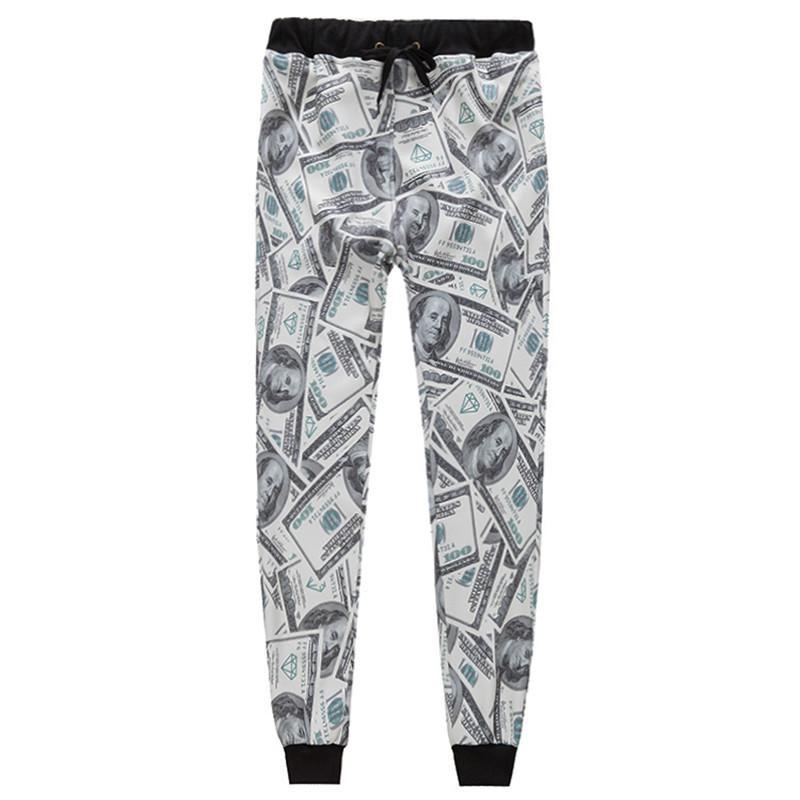 w1215 мужчины/женщины 3d брюки повседневная мода доллары печатных бумажные деньги девушка длинные брюки мультфильм размер s-xl новый 2015