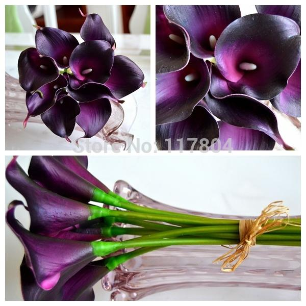 Decorative flower 9 pieces/lot and have 12 colors Real touch Dark Purple Mini Calla Lily Wedding Bouquet artificial flowers