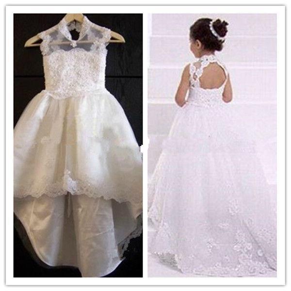 Nowy projekt Tanie Cena Gorąca Sprzedaż Kwiat Girl Dresses A-Line Księżniczka Koronki High Collar Sweep Pociąg Nowy Design Uroczy Dresses