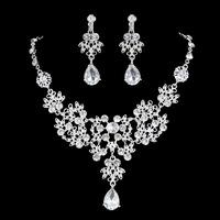 2015 New Sexy Crystal Silver Tiaras Plants Necklace With Clip Ear Drop Earring Bridal Accessories