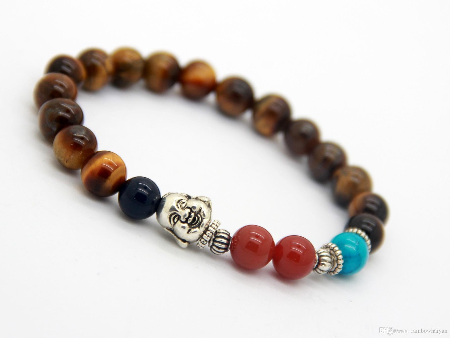 Neue Design Großhandel 8mm Natürliche Tigerauge Antike Silber Lachende Buddha Armband Herren Perlen Meditation Jewlery