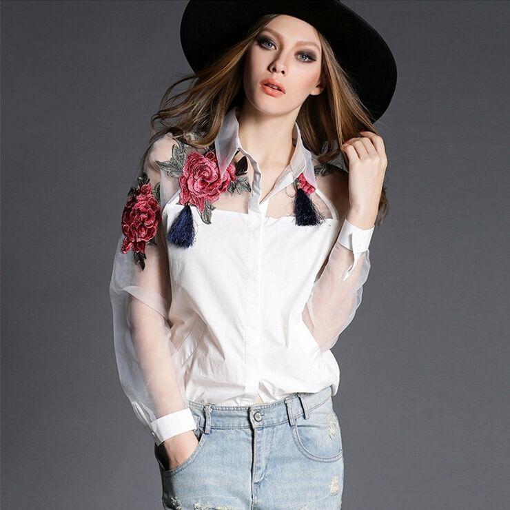 2016 весна новый европейский и американский женщины печати цветок рубашка блузка вышитые марлевые органзы с длинными рукавами белая женщина рубашки блузки топы