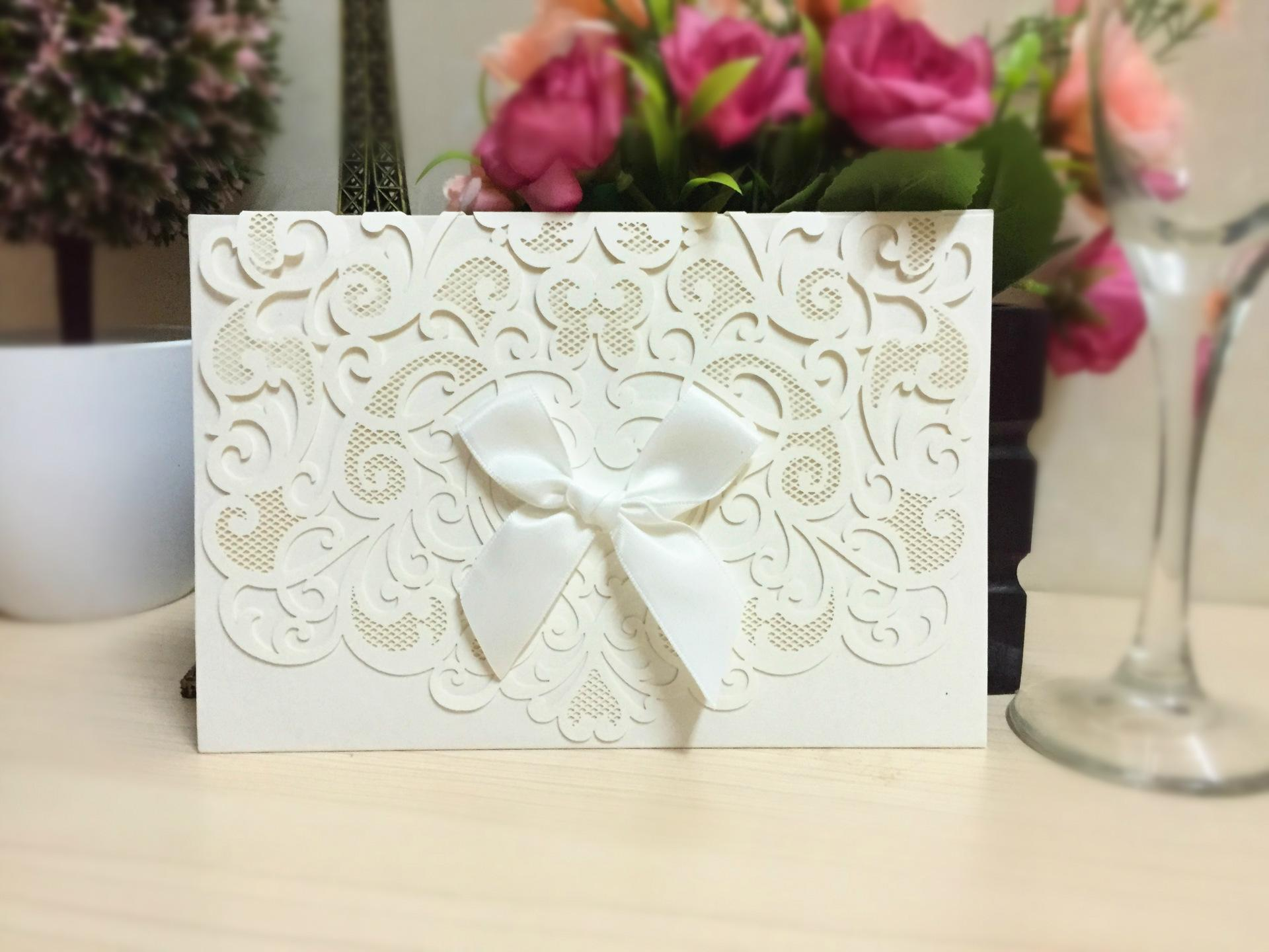 2016 Printing Laser Cutting New Wedding Favors Wholesale Hollow Wedding Party Printable Invitation Cards Ribbon Classy Wedding Invitations Customized