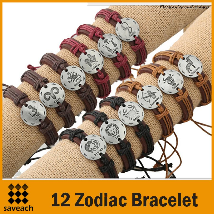 HOT - 12 zodiac couple twine weaving handmade genuine leather bracelet small jewelry Europe and the United States Free Shipping