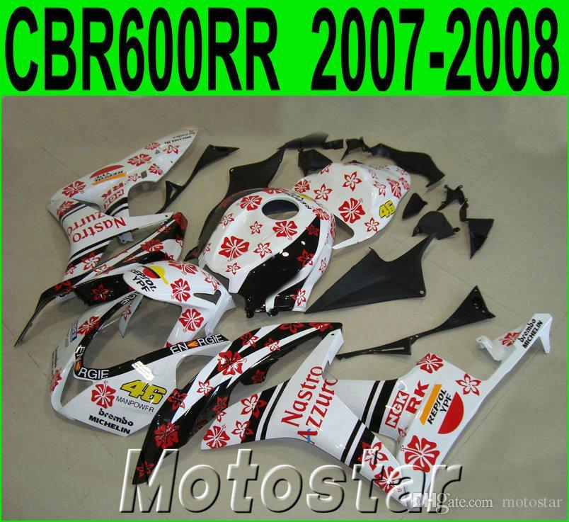 Injection molding ABS fairing kit for HONDA CBR600RR 07 08 fairings set CBR 600 RR F5 2007 2008 white black red motobike LY63