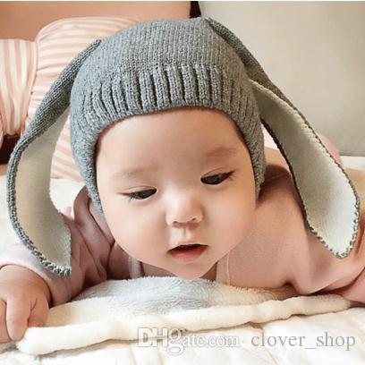 Sonbahar Kış Yürüyor bebek Örme Bebek Şapka Sevimli Tavşan Uzun Kulak Şapka Bebek Bunny Bere Cap Fotoğraf Sahne