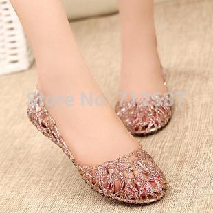 Supernova Ventes Nouveau 2013 Mode été respirant femmes chaussures jelly sandals nid appartements en maille pour les femmes # 5699