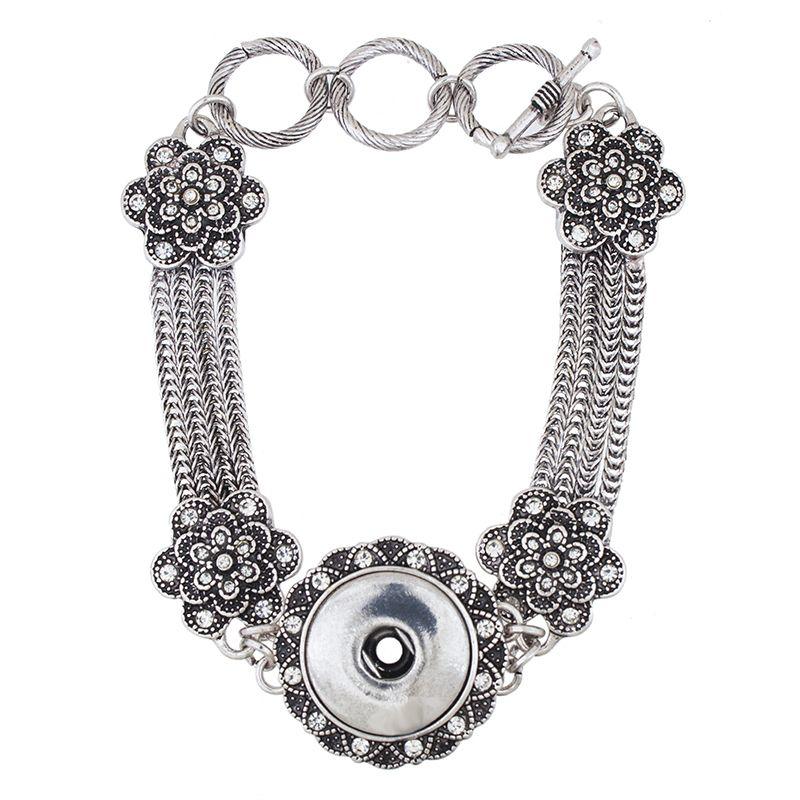 NBR860 горячая распродажа Оснастки браслет Шарм браслеты браслет сплава Оснастки кнопку ювелирные изделия 2015 мода старинные Кристалл один огрызается холдеры