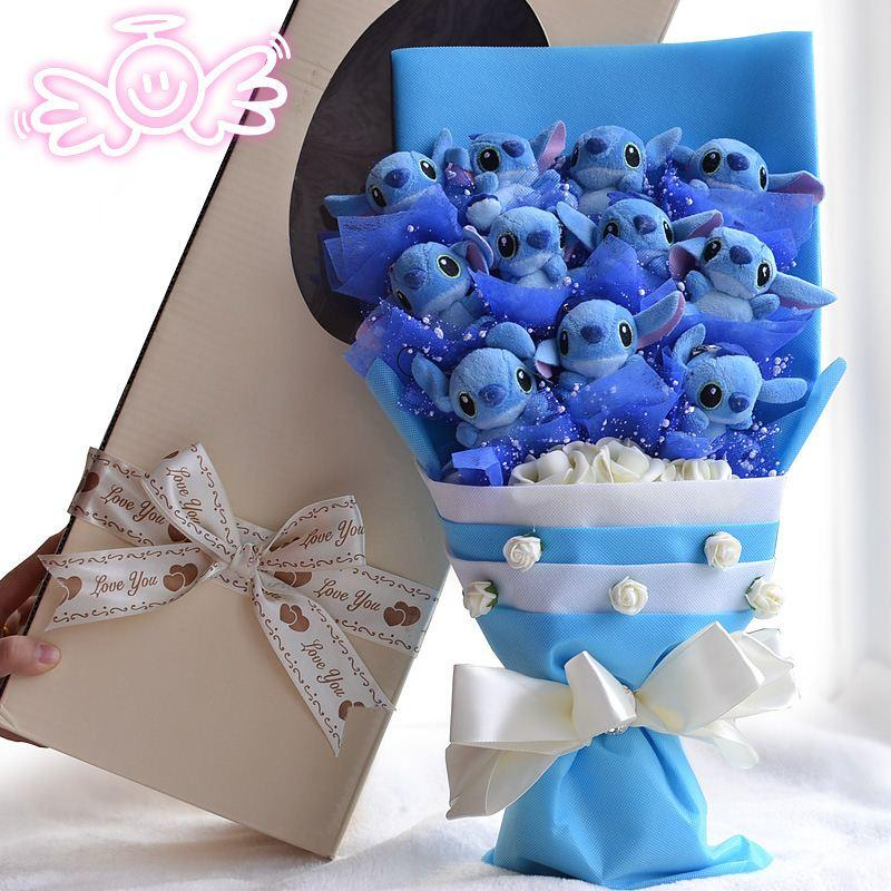 2021 D223 Eternal Angel Holding Stitch Cartoon Bouquet Doll Gift Ideas Birthday Gift Bouquet From Luo1 67 34 Dhgate Com