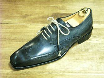 Mężczyźni Sukienka Buty Oxfords Buty Niestandardowe Ręcznie robione Buty Prawdziwej Skóry Skórzanej Calf Color Dark Navy Square Toe HD-J043