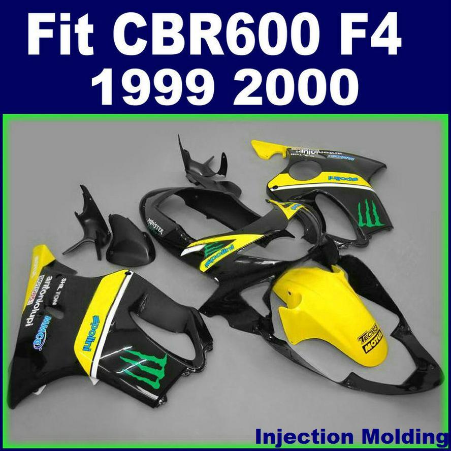 7gifts + حقن صب تخصيص لهوندا فونتسيز CBR600 F4 1999 2000 أصفر أسود 99 00 CBR 600 F4 FALESS KITS YXVF