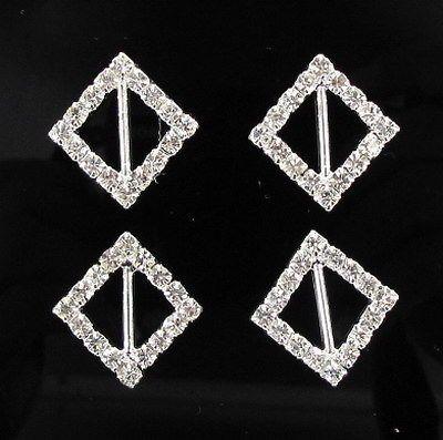 Горячее продавать! 100pcs Квадратная венчание Invitatin Bling Diamante Ribbon Slider Buckle 21.5 * 21.5mm, Bar 11mm